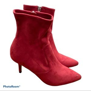 Marc Fisher Faux Suede Red Boots 8